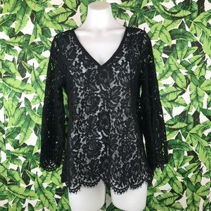 White House Black Market Lace Bell Sleeve Blouse